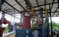 Final stage of the pyrolysis equipment installation process.